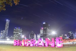 Brisbane signage against skyline backdrop
