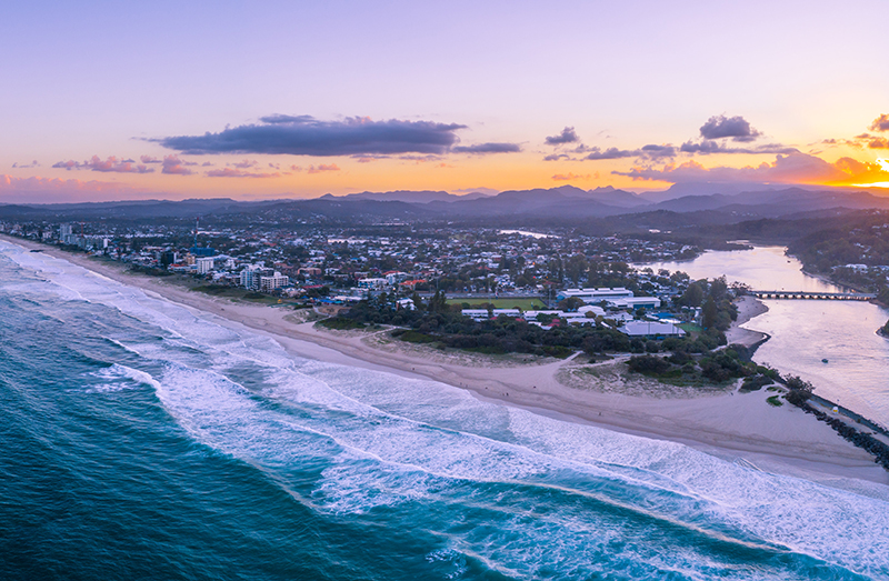 Beautiful sunset over Gold Coast coastline. Gold Coast, Queensland, Australia
